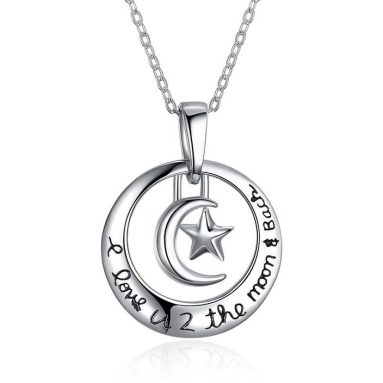 Sterling Silver Love You To The Moon & Back Necklace
