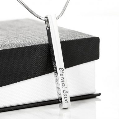 Luxury Engraved Bar Necklace
